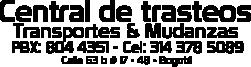 Central de Trasteos en bogotá | Cel: 314 378 5089 | Mudanzas nacionales